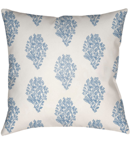 Surya MF009-2222 Moody Floral 22 X 22 inch White and Bright Blue Outdoor Throw Pillow photo