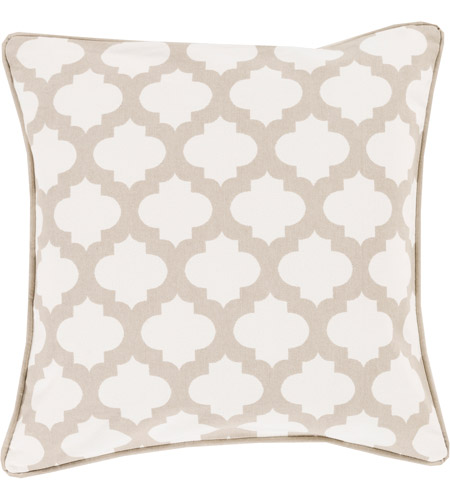 Surya MPL007-1818 Moroccan Printed Lattice 18 X 18 inch White and Brown Pillow Cover photo