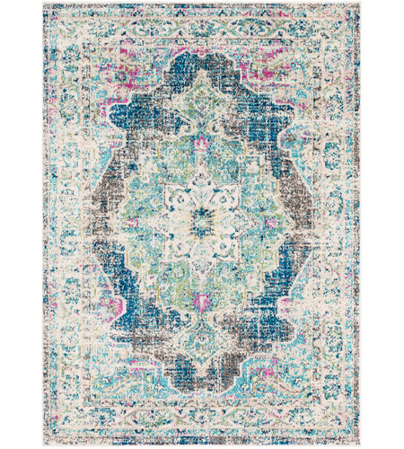 Surya MRC2304-5373 Morocco 87 X 63 inch Navy/Teal/Pale Blue/Charcoal/Fuschia/Light Gray Rugs, Rectangle photo
