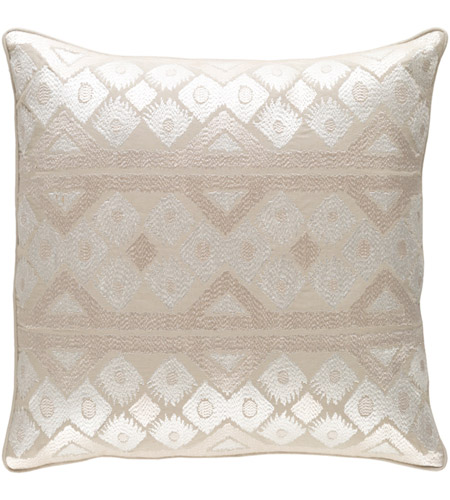 Surya MRW001-1818P Morowa 18 X 18 inch Khaki and Cream Pillow photo