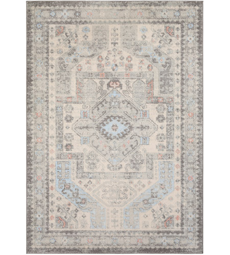 Surya MUT2310-5373 Murat 87 X 63 inch Medium Gray/Charcoal/White/Pale Pink/Pale Blue Rugs, Rectangle photo