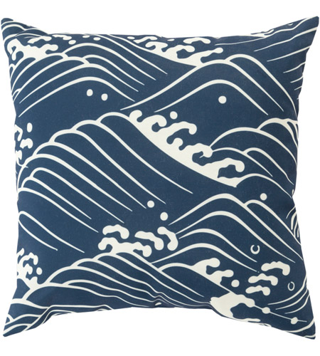 Surya MZ002-2020 Mizu 20 X 20 inch Navy and Off-White Outdoor Throw Pillow photo