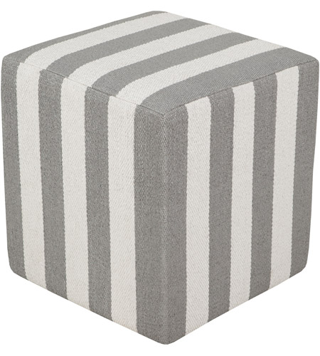 Surya PCPF-010 Picnic 18 inch Grey Pouf photo
