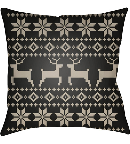Surya PLAID001-2020 Fair Isle I 20 X 20 inch Black and Beige Outdoor Throw Pillow photo
