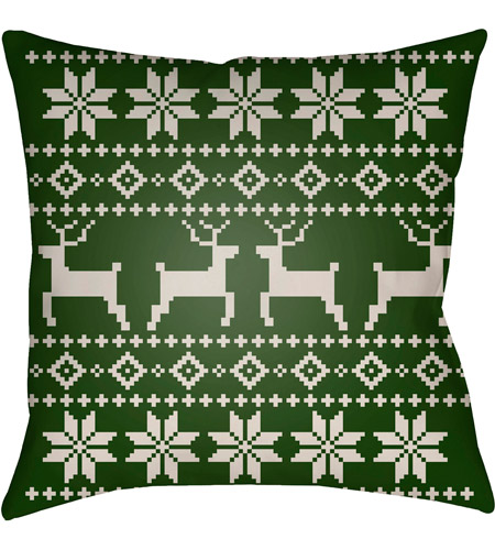 Surya PLAID003-2020 Fair Isle I 20 X 20 inch Green and Beige Outdoor Throw Pillow photo