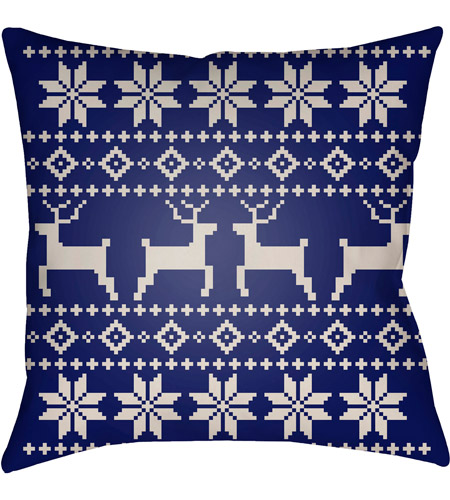 Surya PLAID004-2020 Fair Isle I 20 X 20 inch Blue and Beige Outdoor Throw Pillow photo