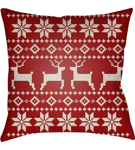 Surya PLAID005-2020 Fair Isle I 20 X 20 inch Red and Beige Outdoor Throw Pillow photo
