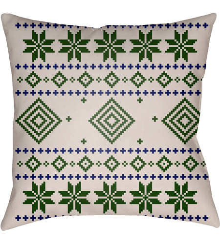 Surya PLAID007-2020 Fair Isle II 20 X 20 inch Green and Neutral Outdoor Throw Pillow photo