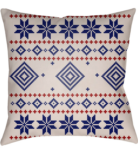 Surya PLAID008-2020 Fair Isle II 20 X 20 inch Blue and Neutral Outdoor Throw Pillow photo
