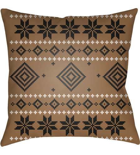 Surya PLAID009-2020 Fair Isle II 20 X 20 inch Brown and Neutral Outdoor Throw Pillow photo