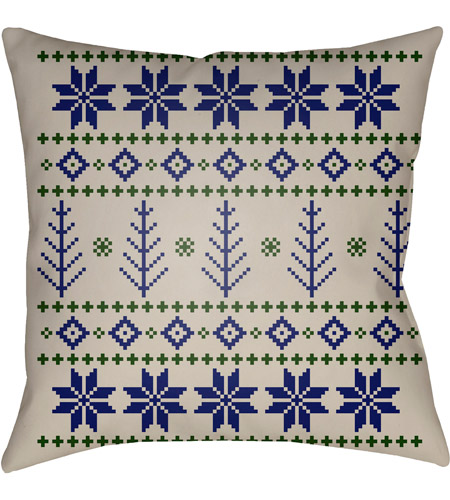 Surya PLAID013-2020 Fair Isle III 20 X 20 inch Blue and Neutral Outdoor Throw Pillow photo