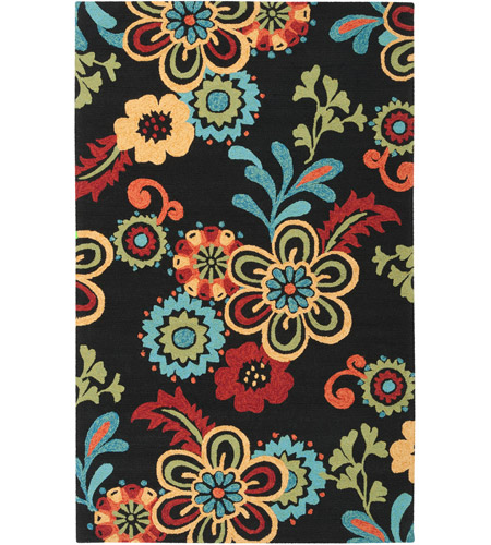 Surya SOM7707-1014 Storm 168 X 120 inch Black and Burnt Orange Outdoor Area Rug photo