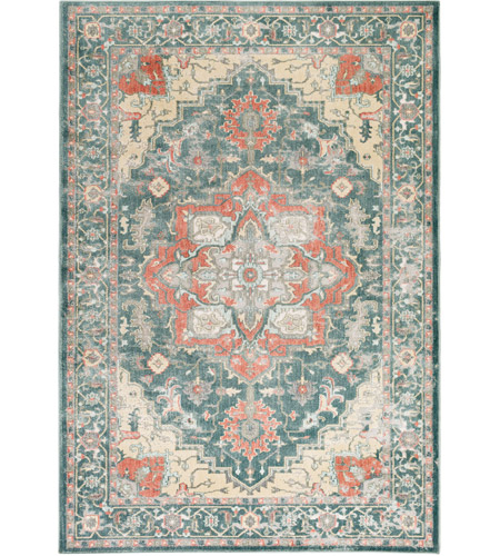 Surya Sre1003 5373 Serene 87 X 63 Inch Green And Neutral Area Rug Polyester And Polypropylene