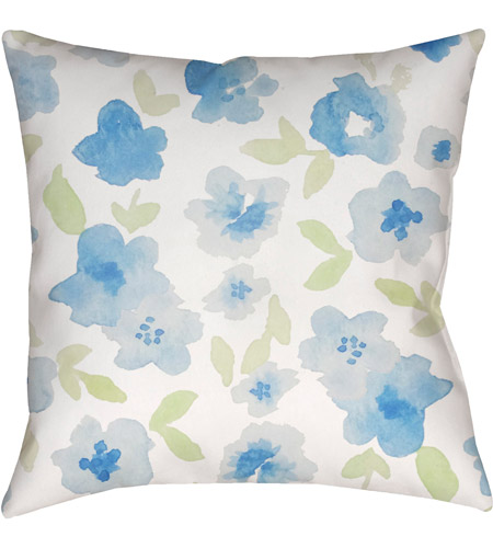 Surya WMOM001-2020 Flowers 20 X 20 inch Neutral and Blue Outdoor Throw Pillow photo