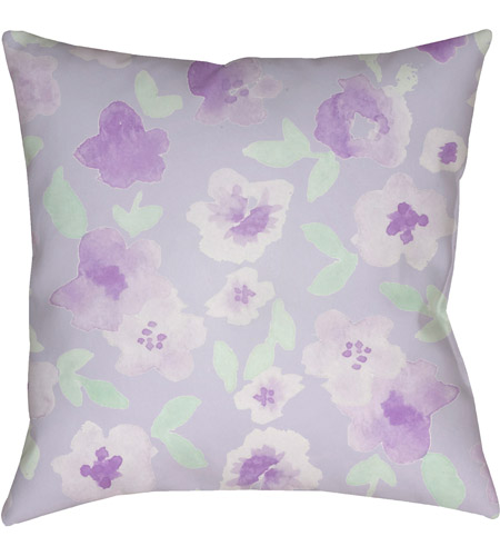 Surya WMOM006-2020 Flowers 20 X 20 inch Purple and Green Outdoor Throw Pillow photo