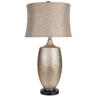 Signature 30 inch 150 watt Hammered Silvertone Leaf Table Lamp Portable Light