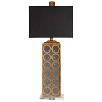 Surya LMP-1041 Signature 33 inch 100 watt Goldtone Leaf and Aged Mirror Table Lamp Portable Light