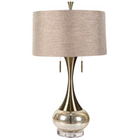 Signature 33 inch 60 watt Aged Brass and Mercury Glass Table Lamp Portable Light