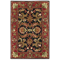 Ancient Treasures 36 X 24 inch Black and Red Area Rug, Wool