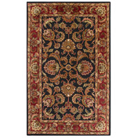 Ancient Treasures 96 X 60 inch Black and Red Area Rug, Wool
