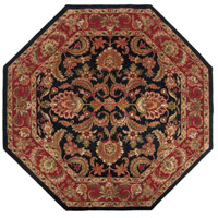 Ancient Treasures 96 X 96 inch Black and Red Area Rug, Wool