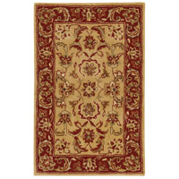 Ancient Treasures 36 X 24 inch Green and Red Area Rug, Wool