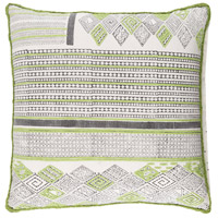 Aba 18 X 18 inch Lime and Dark Brown Throw Pillow