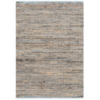 Adobe 36 X 24 inch Neutral and Blue Area Rug, Jute and Leather