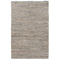 Adobe 96 X 60 inch Neutral and Blue Area Rug, Jute and Leather