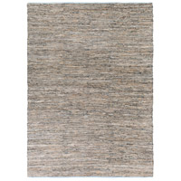 Adobe 132 X 96 inch Neutral and Blue Area Rug, Jute and Leather