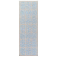 Adeline 96 X 30 inch Blue and Gray Runner, Wool, Viscose, and Cotton