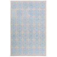 Adeline 90 X 60 inch Blue and Gray Area Rug, Wool, Viscose, and Cotton