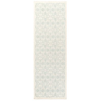 Adeline 96 X 30 inch Green and Neutral Runner, Wool, Viscose, and Cotton