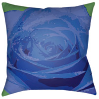 Abstract Floral 18 X 18 inch Bright Blue and Dark Blue Outdoor Throw Pillow
