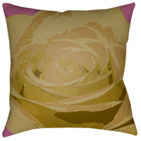 Abstract Floral 18 X 18 inch Purple and Green Outdoor Throw Pillow