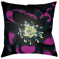Abstract Floral 18 X 18 inch Navy and Black Outdoor Throw Pillow