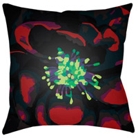 Abstract Floral 18 X 18 inch Green and Red Outdoor Throw Pillow