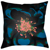 Abstract Floral 18 X 18 inch Navy and Green Outdoor Throw Pillow