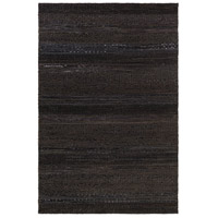 Aija 36 X 24 inch Black Area Rug, Leather and Cotton