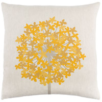 Agapanthus 20 X 20 inch Brown and Yellow Pillow Cover