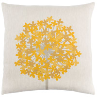 Agapanthus 20 X 20 inch Taupe and Saffron Throw Pillow