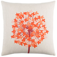 Agapanthus 20 X 20 inch Dark Red and Bright Orange Throw Pillow