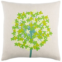 Agapanthus 20 X 20 inch Teal and Grass Green Throw Pillow