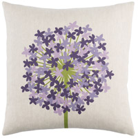 Agapanthus 20 X 20 inch Green and Purple Pillow Cover