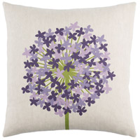 Agapanthus 20 X 20 inch Grass Green and Violet Throw Pillow