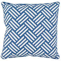 Basketweave 16 X 16 inch Navy and White Outdoor Throw Pillow