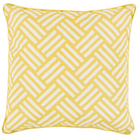 Basketweave 16 X 16 inch Yellow and White Outdoor Throw Pillow