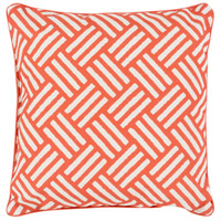 Basketweave 16 X 16 inch Orange and White Outdoor Throw Pillow
