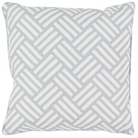 Basketweave 16 X 16 inch Grey and White Outdoor Throw Pillow