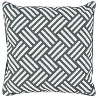 Basketweave 16 X 16 inch Black and White Outdoor Throw Pillow